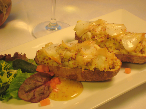 Baked Potatoes with Smoked Haddock and Mustard